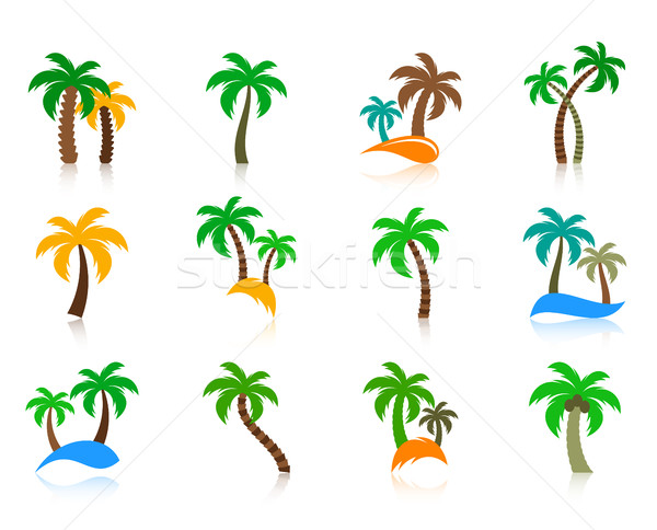 Colorful vector palm tree icons collection Stock photo © blumer1979