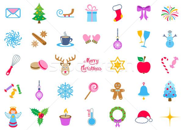 Renkli vektör Noel simgeler büyük toplama Stok fotoğraf © blumer1979