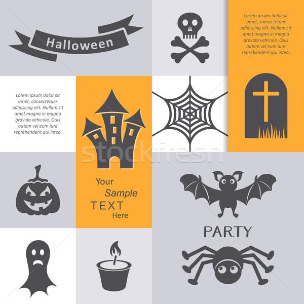 Vektor halloween buli meghívó kártya ijesztő ikonok Stock fotó © blumer1979