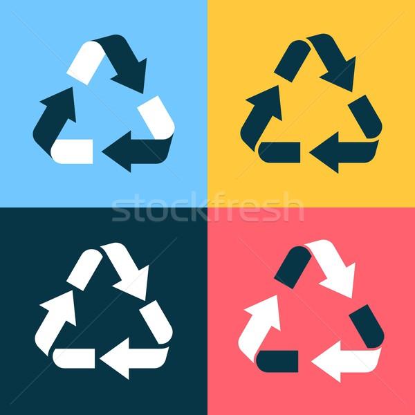 Recycle symbol icons Stock photo © blumer1979