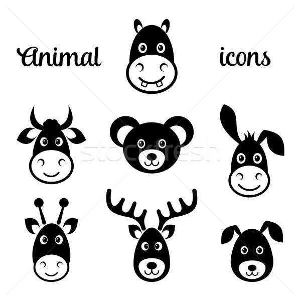 Сток-фото: черный · вектора · животного · лице · иконки · изолированный