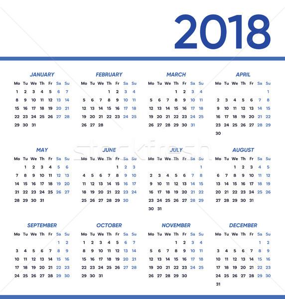 Minimalist vector 2018 calendar Stock photo © blumer1979