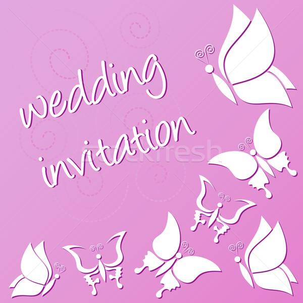 Hochzeitseinladung violett weiß Schmetterlinge Frühling glücklich Stock foto © blumer1979