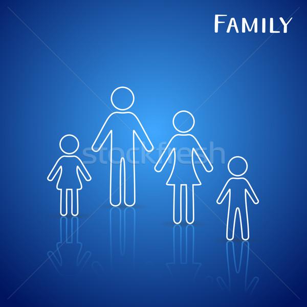 Famiglia icone bianco contorno blu gradiente Foto d'archivio © blumer1979