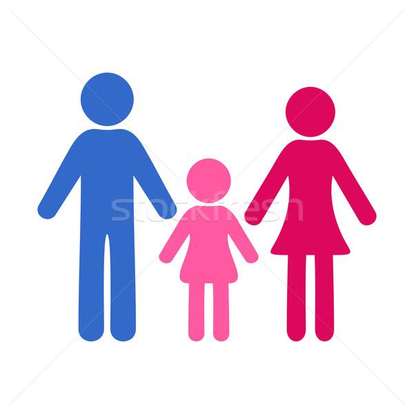 Vektor család ikon színes egyszerű egy lány Stock fotó © blumer1979