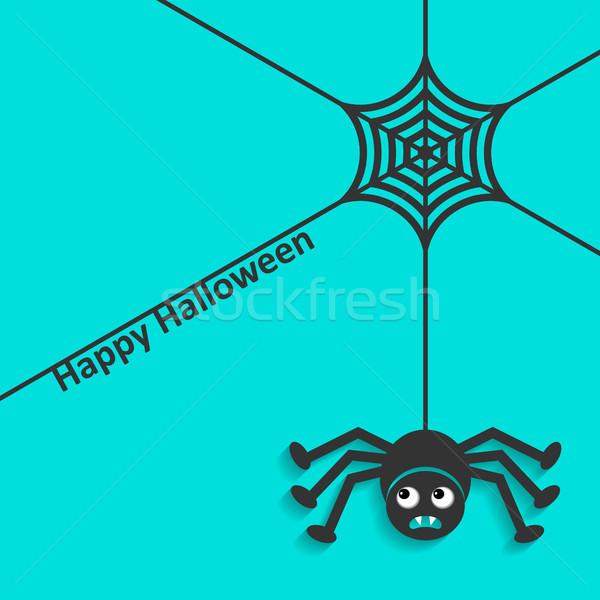 Boldog halloween pókháló pók kártya ijesztő Stock fotó © blumer1979