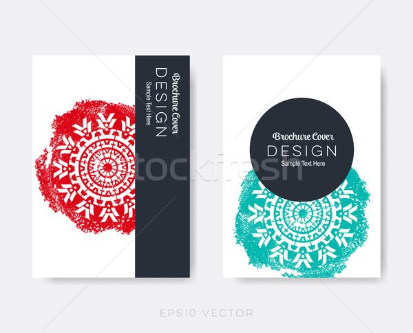Folleto cubrir diseno mandala vector Foto stock © blumer1979