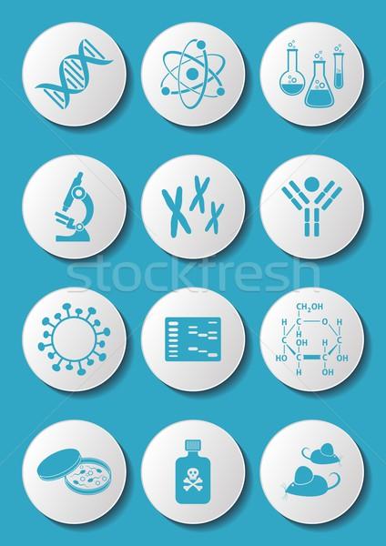 Biologia scienza icone blu molecolare bianco Foto d'archivio © blumer1979
