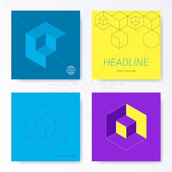 Minimalist modern square card cover designs Stock photo © blumer1979