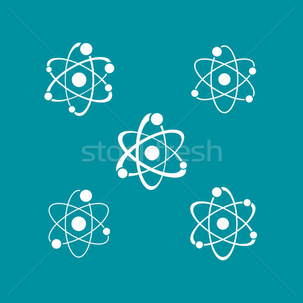 White atom sign icons collection logo Stock photo © blumer1979