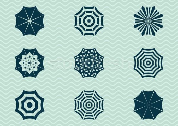 Esernyő ikon szett különböző nap sziluett ikonok Stock fotó © blumer1979