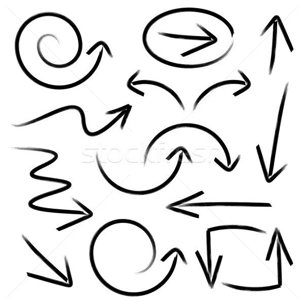 Fekete vektor kézzel rajzolt nyilak gyűjtemény izolált Stock fotó © blumer1979