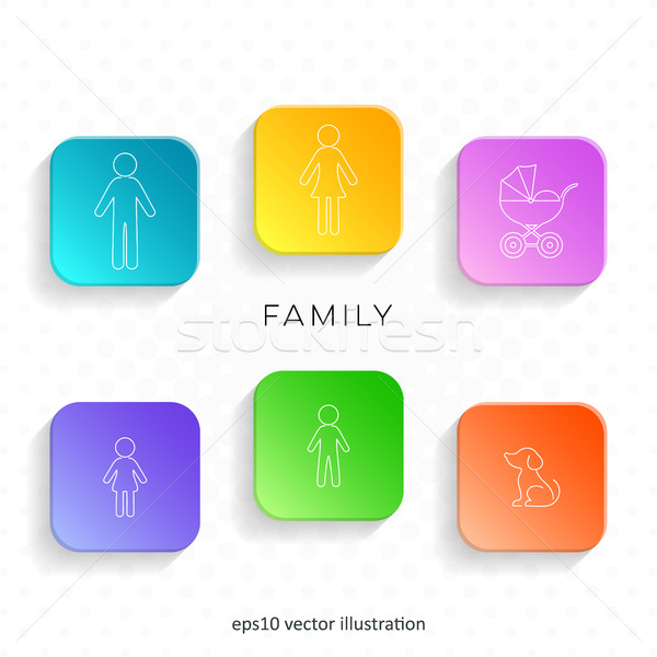 Família ícones teia botões sombras Foto stock © blumer1979