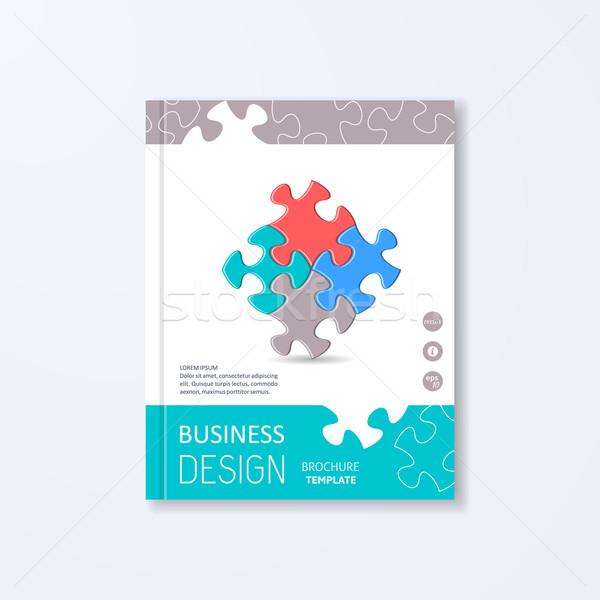 Moderna folleto plantilla de diseño colorido piezas del rompecabezas resumen Foto stock © blumer1979