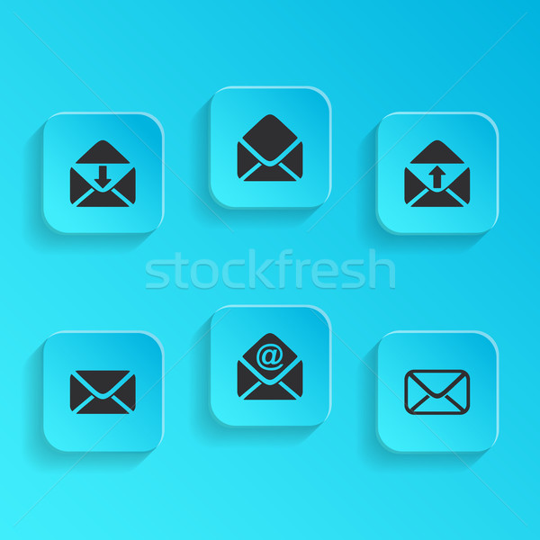 Mail dotación iconos moderna vector azul Foto stock © blumer1979