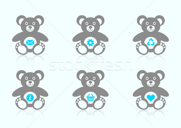 Teddy bear icons with website icons Stock photo © blumer1979