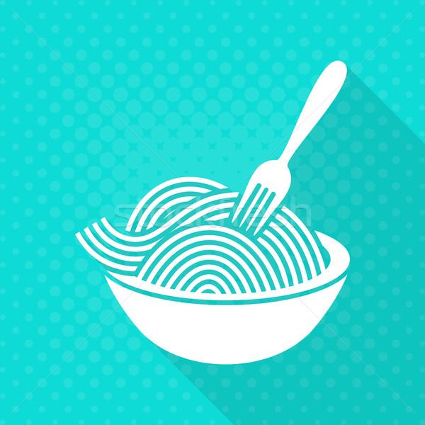 Witte vector spaghetti icon turkoois diner Stockfoto © blumer1979