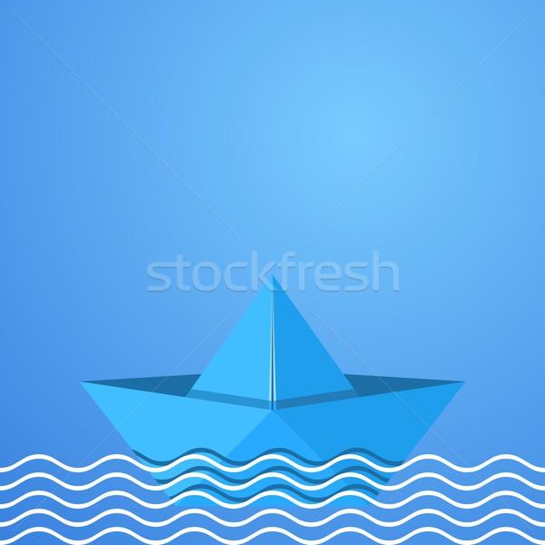Origami bateau bleu vecteur papier mer Photo stock © blumer1979