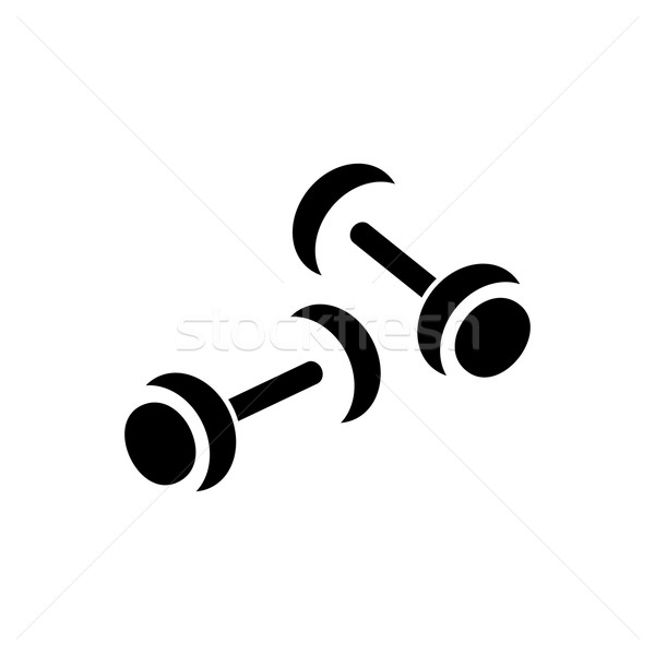 Vector simple pesas icono negro blanco Foto stock © blumer1979