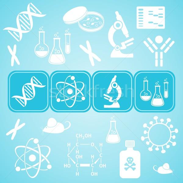 Moleculair biologie wetenschap kaart turkoois witte Stockfoto © blumer1979