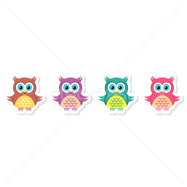 Сток-фото: совы · Этикетки · коллекция · Cute · вектора · красочный
