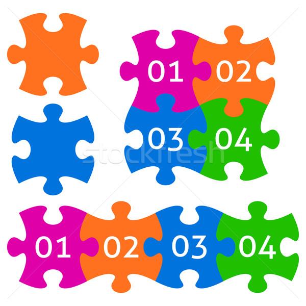 Stok fotoğraf: Renkli · puzzle · parçaları · vektör · parçalar · sayılar
