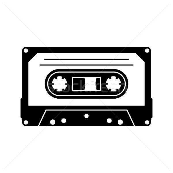 кассету силуэта икона черный вектора изолированный Сток-фото © blumer1979