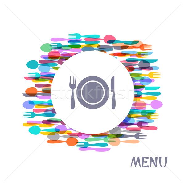 Restaurant menu couvrir design coloré coutellerie Photo stock © blumer1979