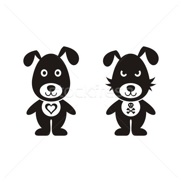 Rajz kutyák fekete vektor rossz kutya Stock fotó © blumer1979