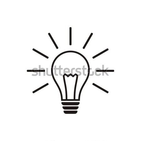 żarówka ikona proste czarny wektora odizolowany Zdjęcia stock © blumer1979
