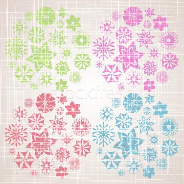 Floral rétro coloré quatre fleur couleurs Photo stock © blumer1979