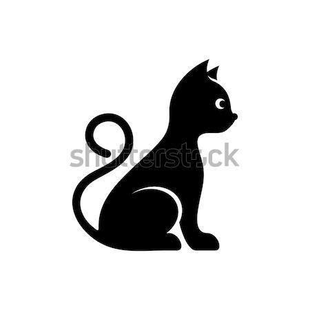 Photo stock: Cute · noir · vecteur · chat · icône · isolé