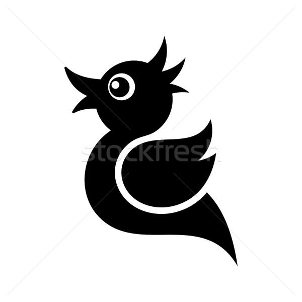 Noir vecteur tweet oiseau icône isolé Photo stock © blumer1979