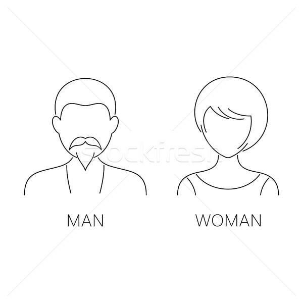 Hombre mujer delgado línea iconos vector Foto stock © blumer1979