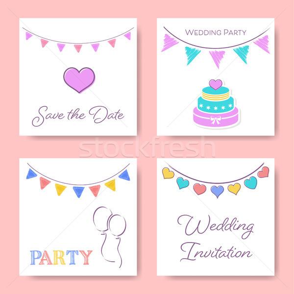 Düğün davetiyesi kart şablonları bağbozumu şablon ayarlamak Stok fotoğraf © blumer1979