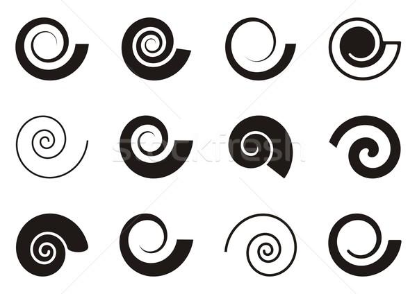 Spirale icônes blanche papier Photo stock © blumer1979
