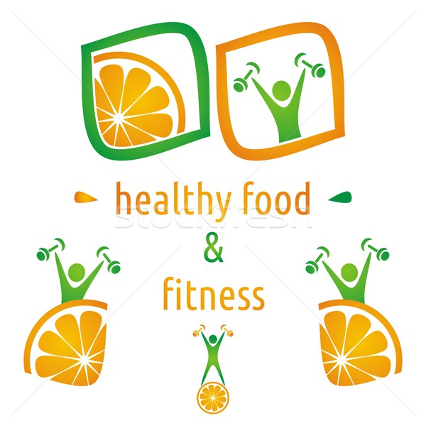 Egészség étel szimbólumok egészséges étel fitnessz narancs Stock fotó © blumer1979