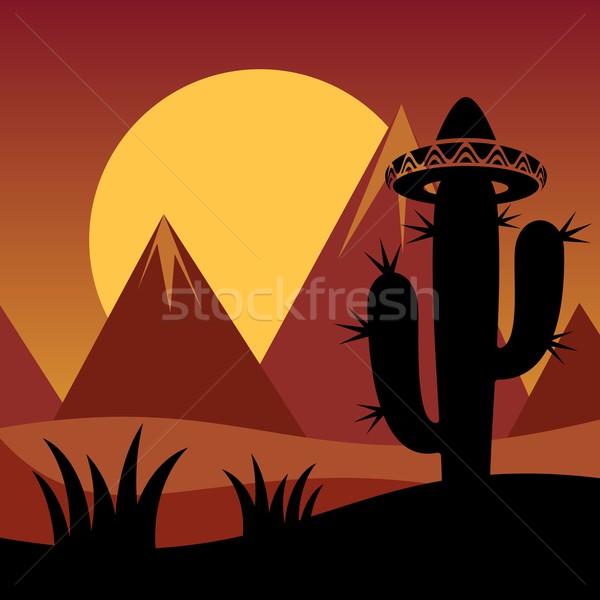 Kaktusz növény sziluett hegyek naplemente virág Stock fotó © blumer1979