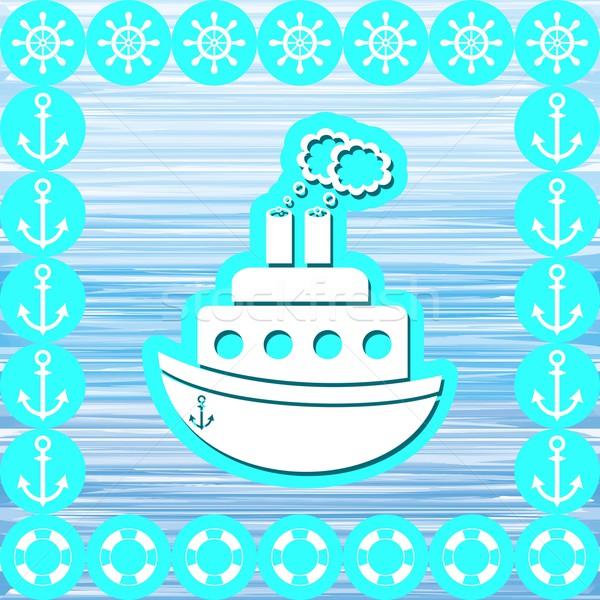 Vapur deniz semboller mavi su sanat Stok fotoğraf © blumer1979