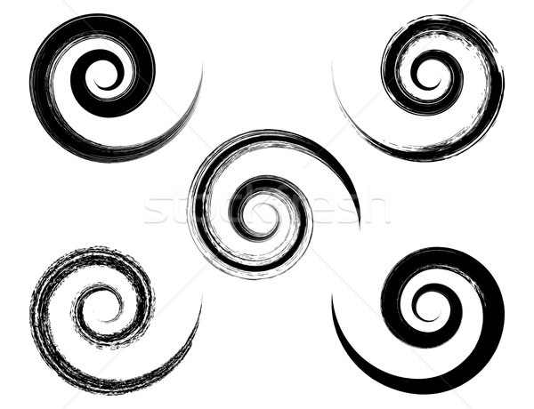 Spiral vector black brush strokes collection Stock photo © blumer1979