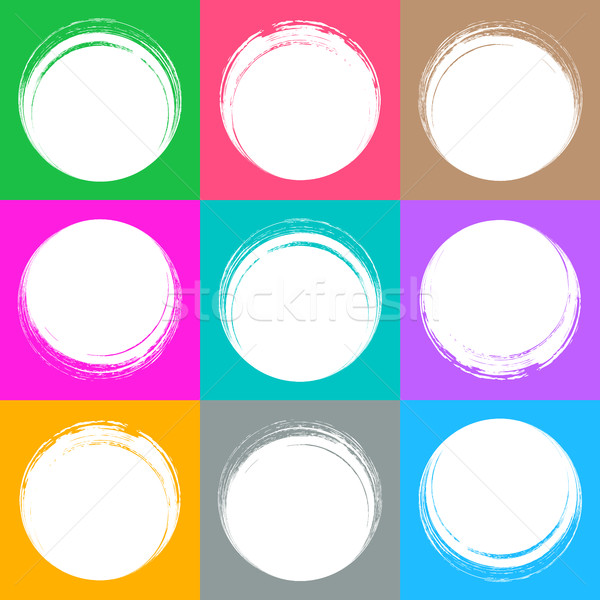 Colorful brush strokes circle buttons Stock photo © blumer1979