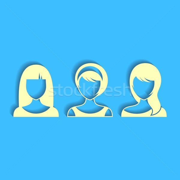 Femme visages trois femmes vecteur utilisateur Photo stock © blumer1979