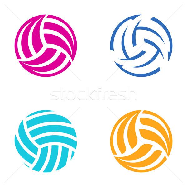 Foto stock: Colorido · vetor · voleibol · bola · abstrato