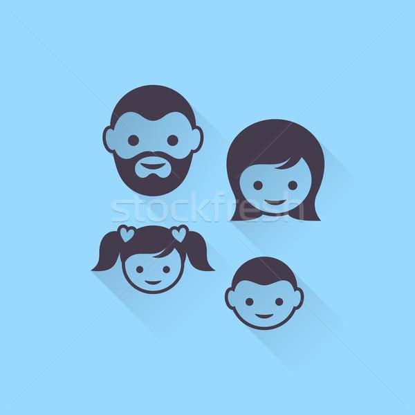 вектора семьи простой лице иконки Тени Сток-фото © blumer1979