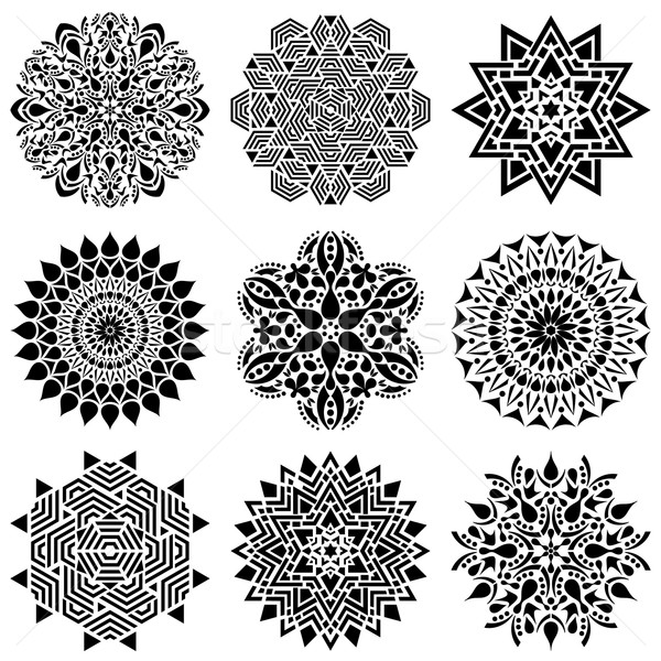 Black geometric abstract mandala collection  Stock photo © blumer1979