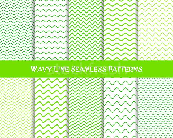 ストックフォト: ベクトル · 波状の · 行 · 緑 · 色