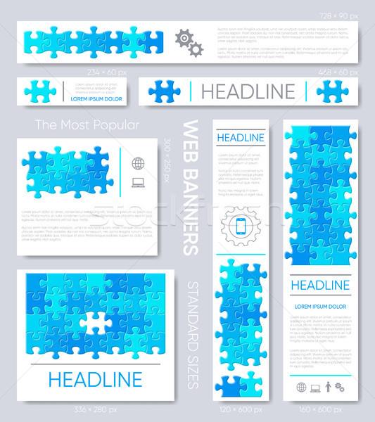 Web afiş dizayn şablonları mavi puzzle parçaları Stok fotoğraf © blumer1979