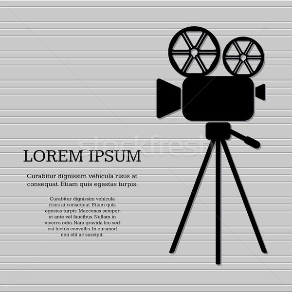 Filmcamera icon zwarte retro vector grijs Stockfoto © blumer1979