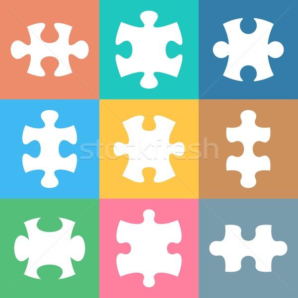 Stok fotoğraf: Vektör · beyaz · puzzle · parçaları · renkli
