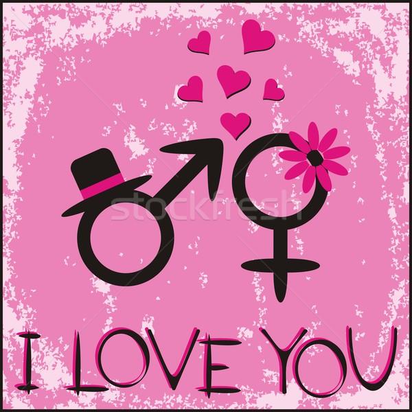 Carte carte-cadeau sexe symboles papier Photo stock © blumer1979